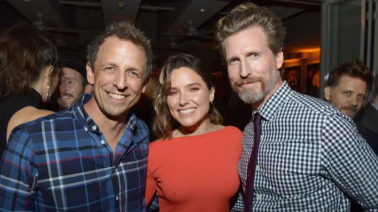 Seth Meyers, left, with Sophia Bush and Josh Meyers at the pre-Emmy shindig. (Matt Winkelmeyer / Getty Images)