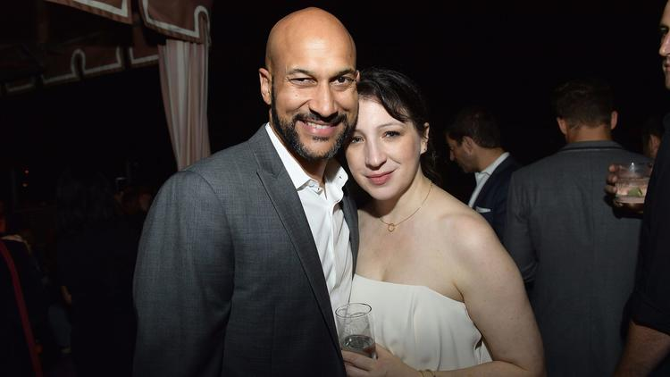 Keegan-Michael Key and Elisa Pugliese at the party at the Hollywood Tower Hotel. (Matt Winkelmeyer / Getty Images for Entertainment Weekly)