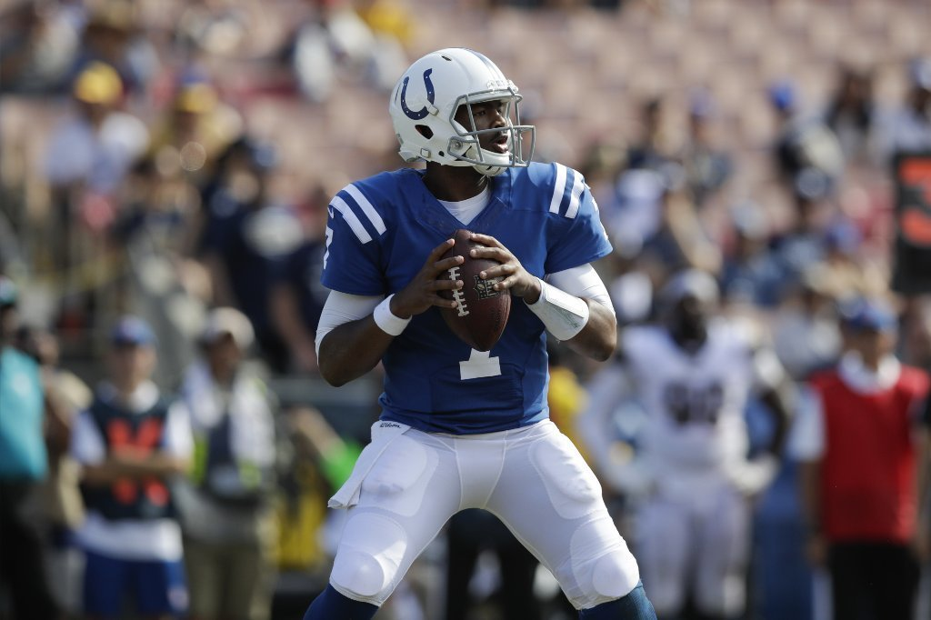 Colts quarterback Jacoby Brissett looks to pass during the second half of a game against the Rams at the Coliseum on Sept. 10. (Jae C. Hong / Associated Press)