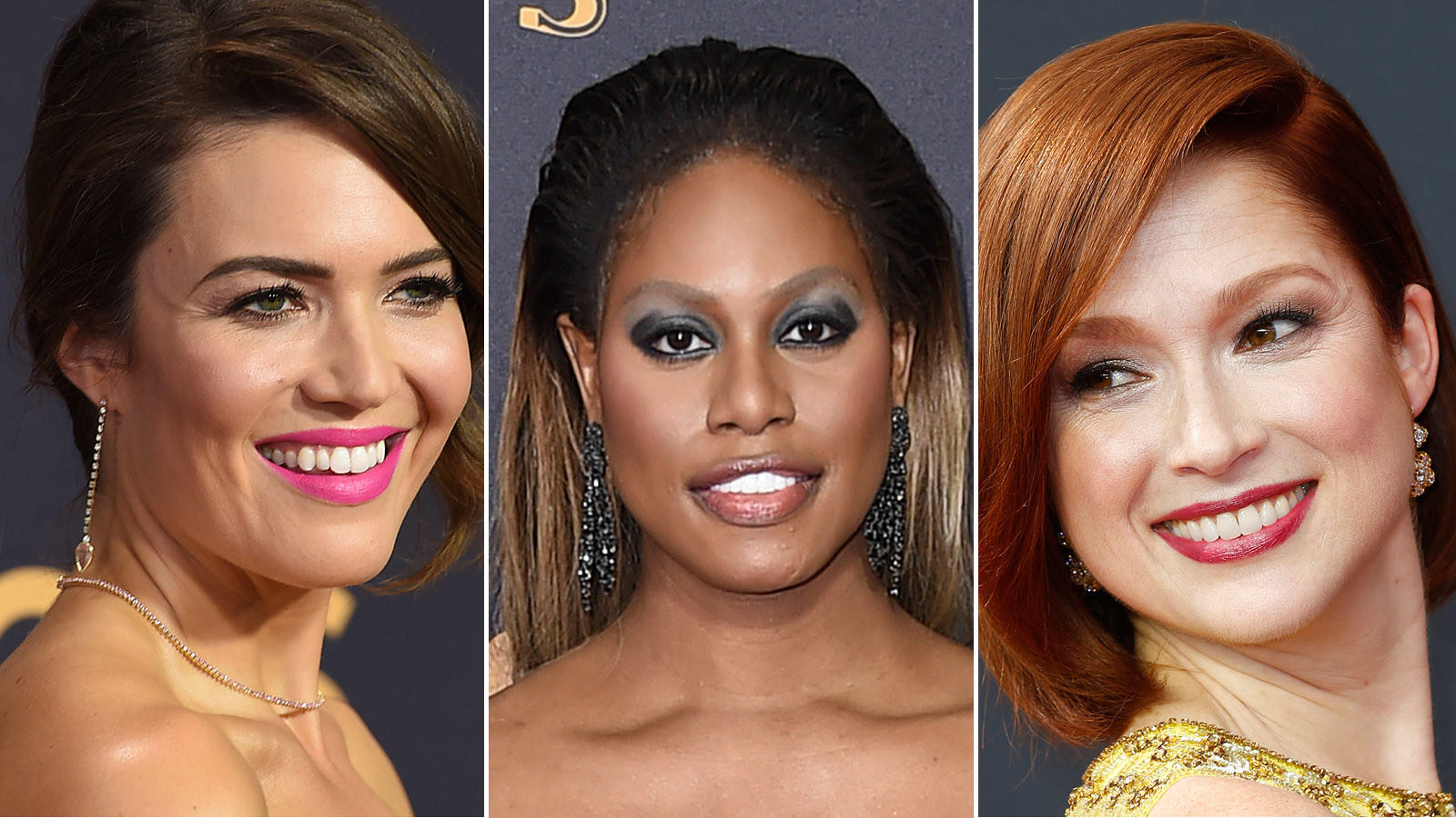 Mandy Moore, from left, Laverne Cox and Ellie Kemper (Jordan Strauss / Associated Press and Kirk McKoy / Los Angeles Times)