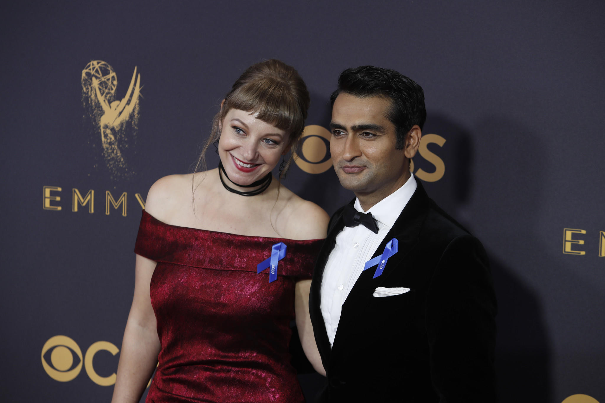 Emily V. Gordon and Kumail Nanjiani sport ACLU ribbons on the Emmy red carpet. (Kirk McKoy / Los Angeles Times)