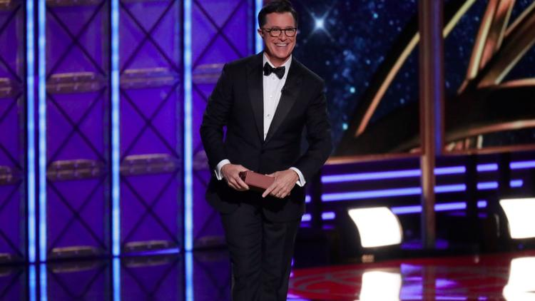 Stephen Colbert hosts the 69th Primetime Emmy Awards at the Microsoft Theater in Los Angeles. (Robert Gauthier / Los Angeles Times)