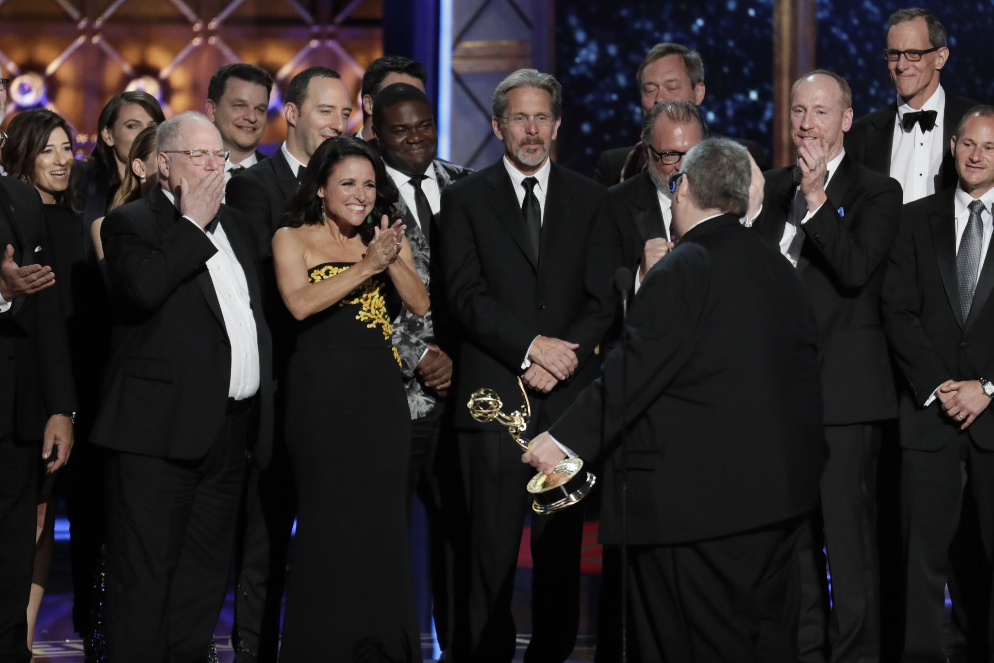 "David Mandel and ""Veep"" winning the Emmy for comedy series. (Robert Gauthier / Los Angeles Times)"