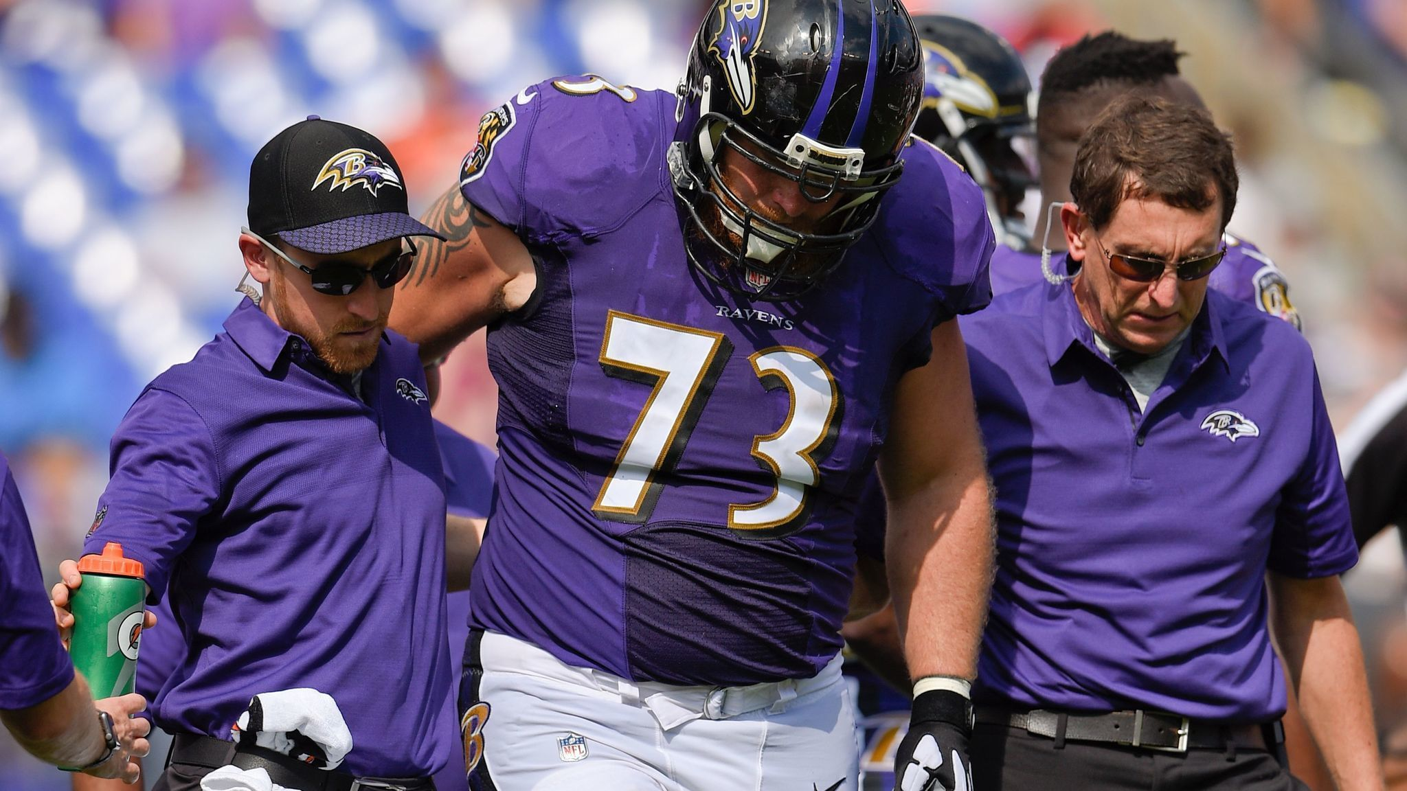 Ravens lose standout right guard Marshal Yanda for season as run