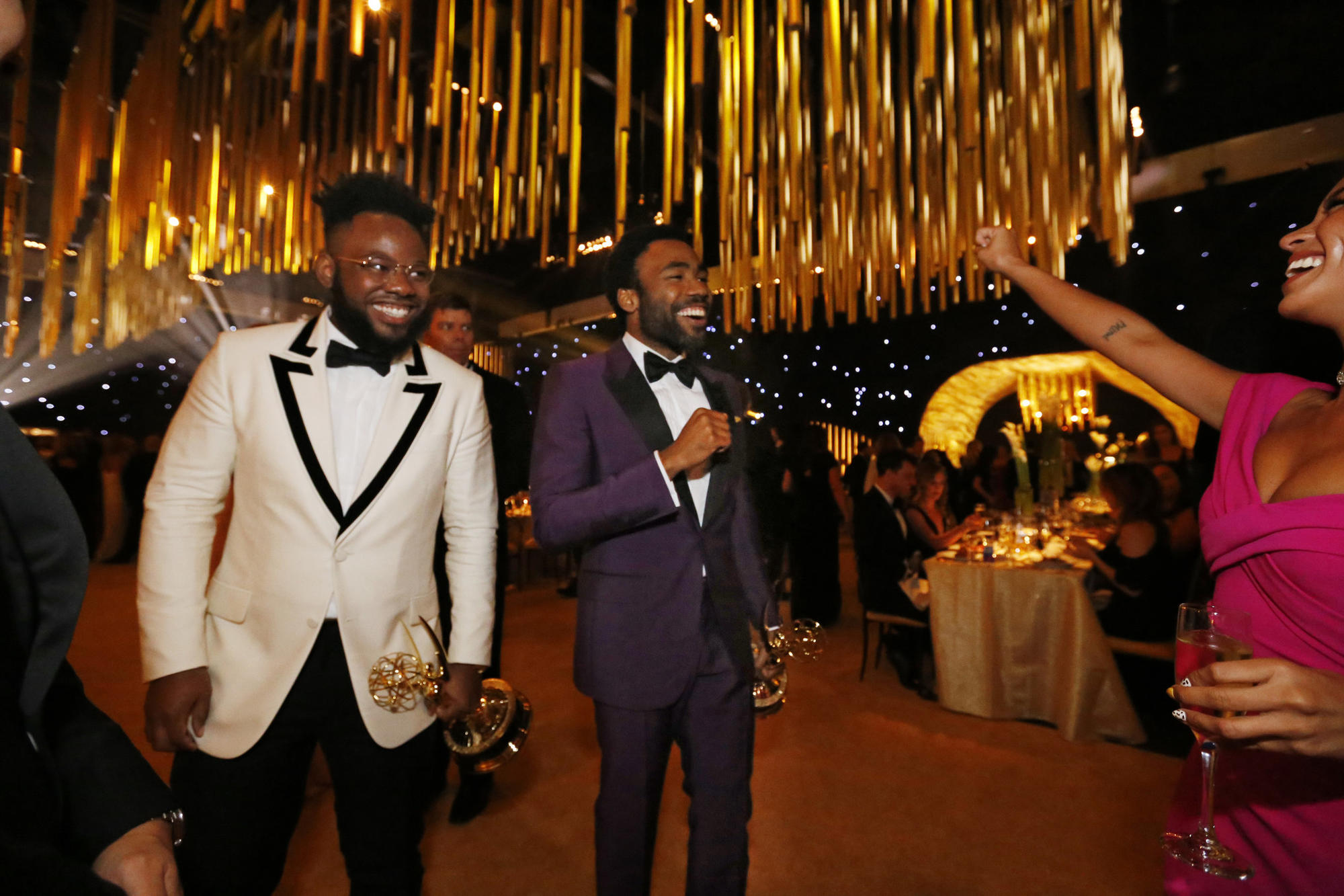 """Atlanta's"" Stephen Glover, left, and Donald Glover are all smiles at the Governors Ball. (11:27 a.m.: An earlier version of this caption misidentified Stephen Glover as Brian Tyree Henry.) (Al Seib / Los Angeles Times)"