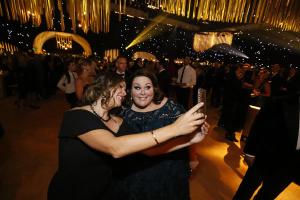 """This Is Us's'"" Chrissy Metz, right, poses for a selfie at the Governors Ball. (Al Seib / Los Angeles Times)"