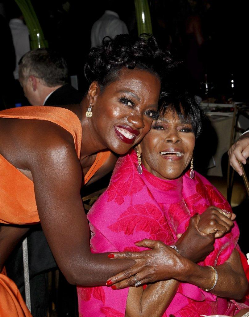 Viola Davis, left, with Cicely Tyson at the Governors Ball. (Tibrina Hobson / AFP/Getty Images)