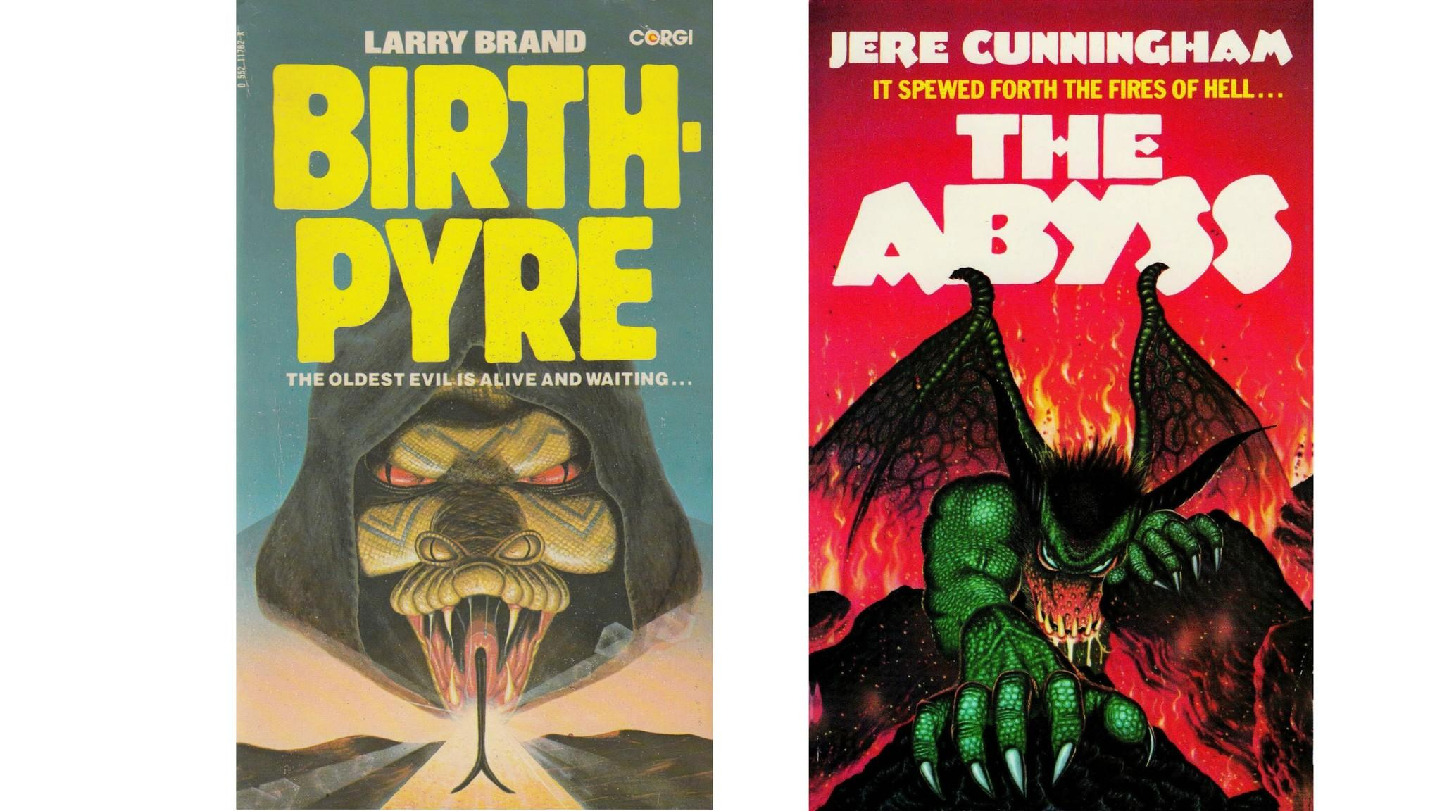 "Covers by Terry Oakes for ""Birthpyre,"" Corgi & Avon, 1980; and ""The Abyss"", Simon & Schuster 1981. (Quirk Books)"