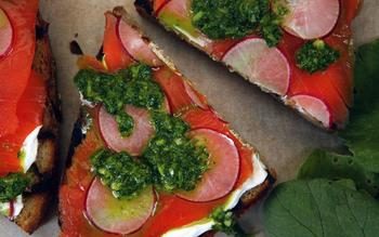 Radish, salmon and radish green salsa verde toasts.