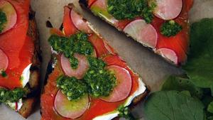 Radish, salmon and radish green salsa verde toasts.