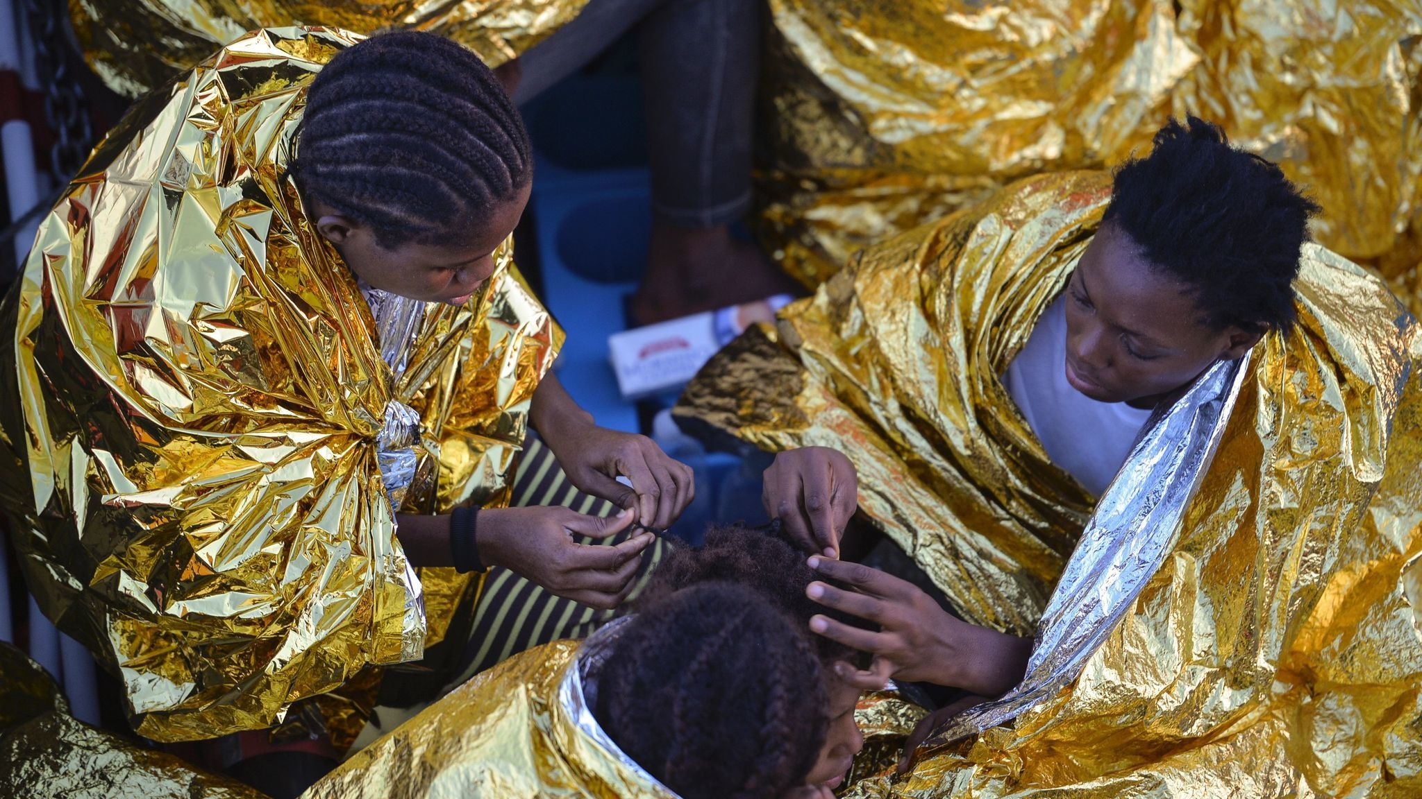 African women aboard the Topaz Responder after a rescue operation of migrants and refugees off the Libyan coast in the Mediterranean Sea in 2016. The arrive in the hundreds every month. Many of them are destined for years of sexual slavery.