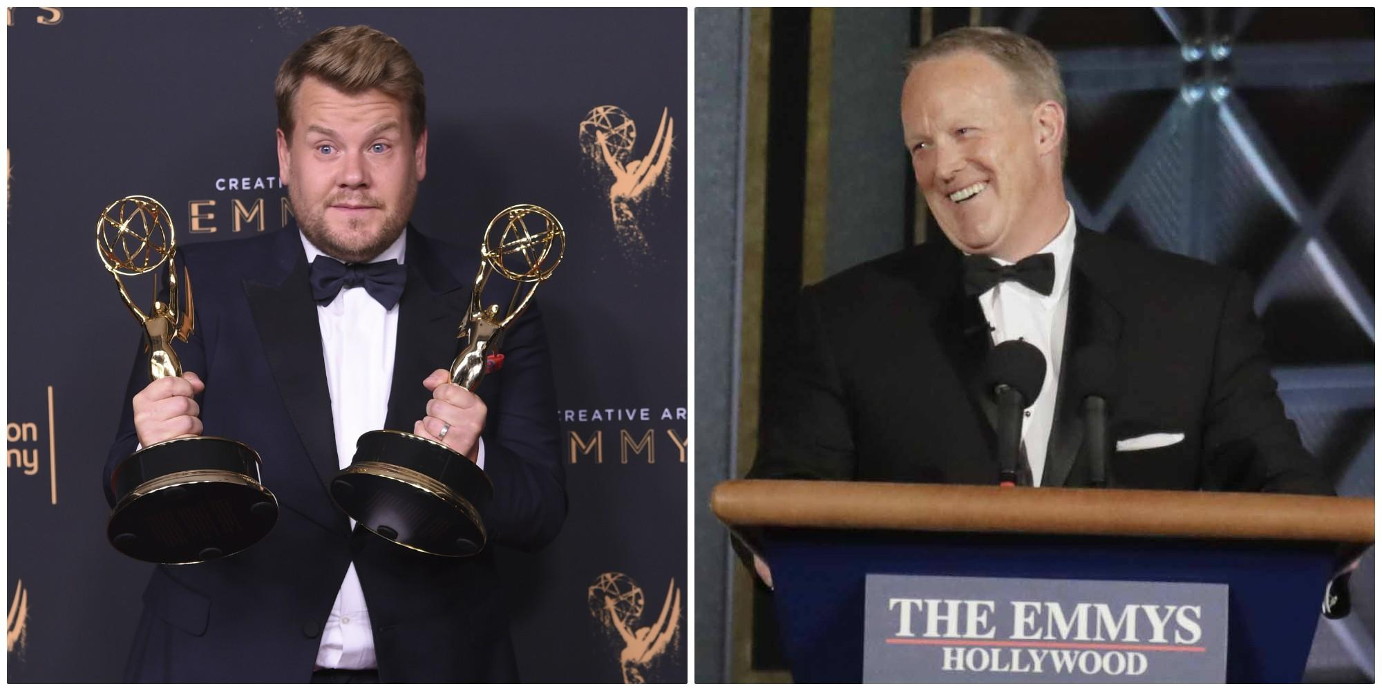 James Corden and Sean Spicer (Richard Shotwell / Invision / AP; Robert Gauthier / Los Angeles Times)