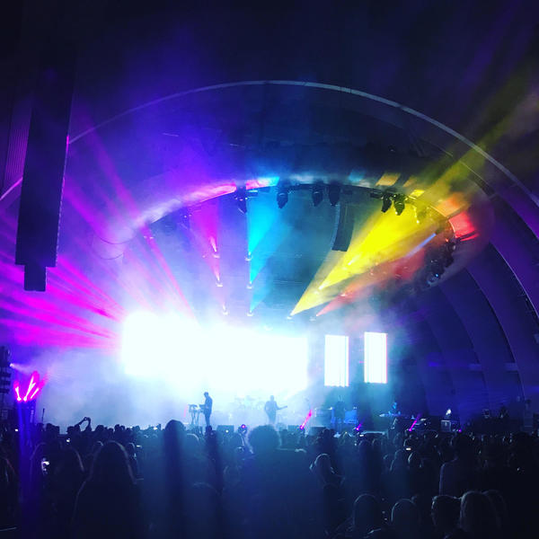 New Order performs at the Hollywood Bowl on Monday. (Molly Kodros)