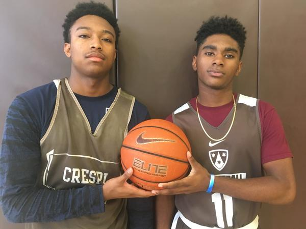 Crespi guards Brandon Williams, left, and Taj Regans. (Eric Sondheimer)