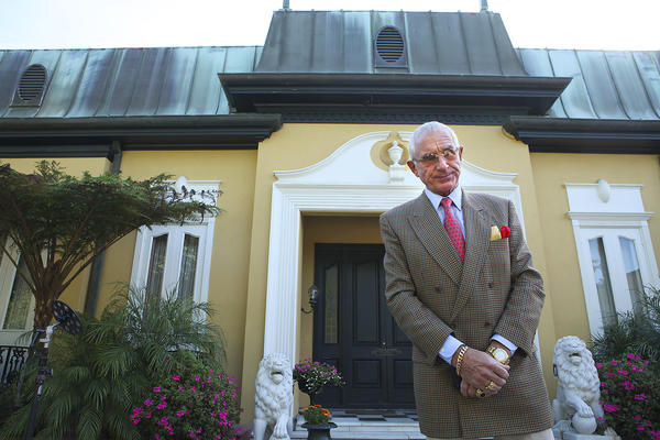 Frederic Prinz von Anhalt, widower of actress Zsa Zsa Gabor, outside of the couple's Bel-Air mansion in 2011. (Brian van der Brug/Los Angeles Times)