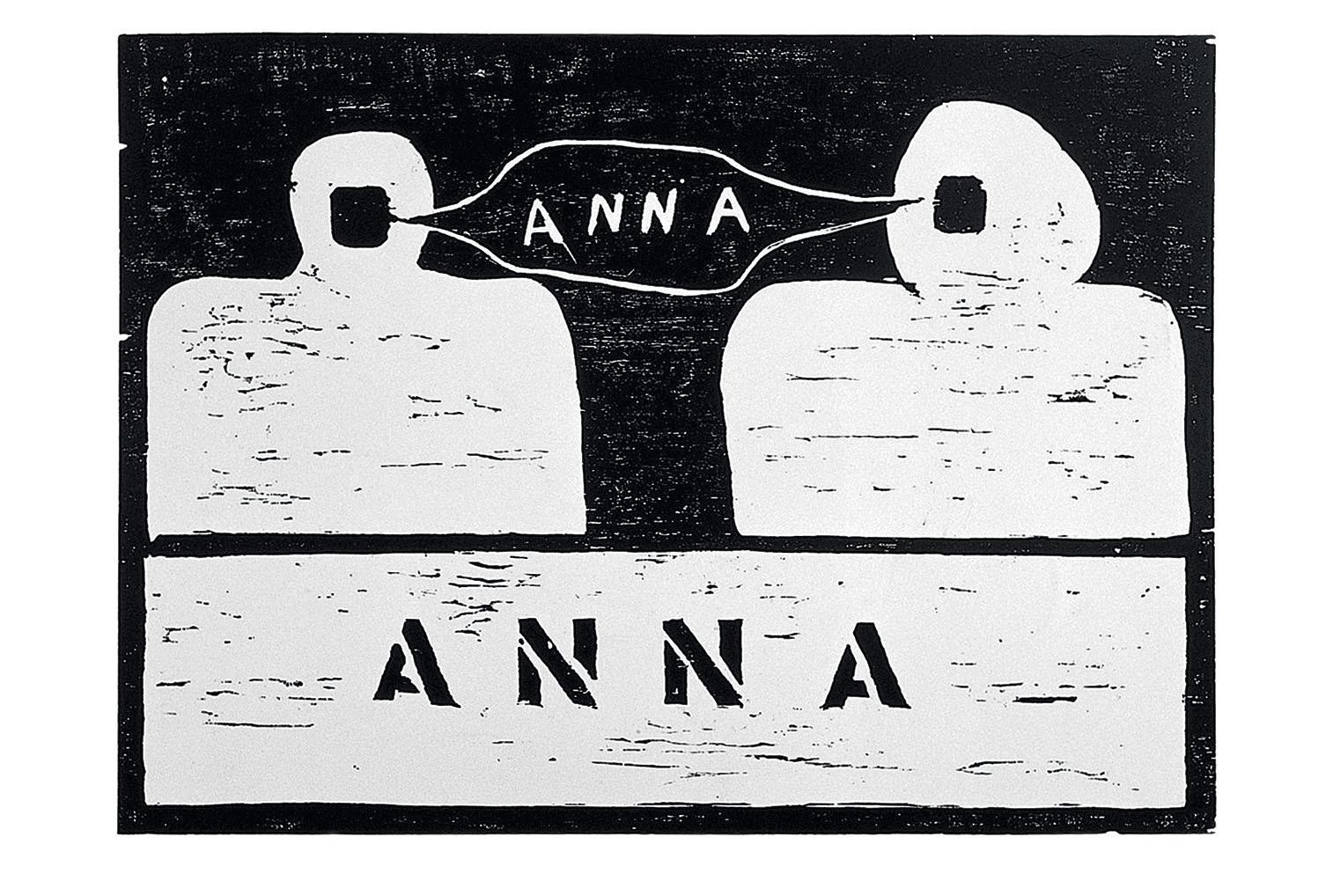 """Anna,"" 1967, an early woodcut by Anna Maria Maiolino, on view at MOCA."
