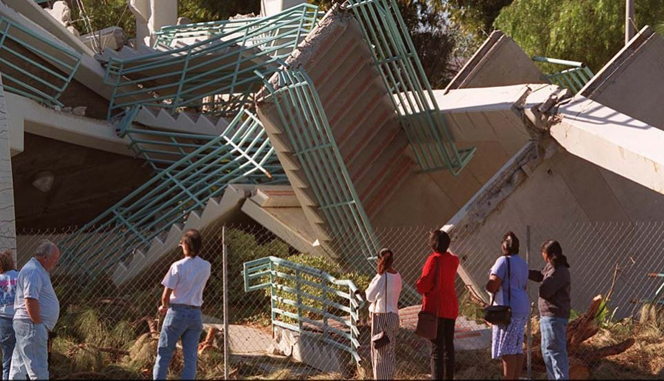 A Cal State Northridge parking structure collapsed during the 1994 Northridge earthquake.