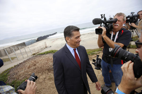 Atty. Gen. Xavier Becerra at the U.S.- Mexico border where he announced lawsuit to stop a proposal for a border wall. (Francine Orr / Los Angeles Times)