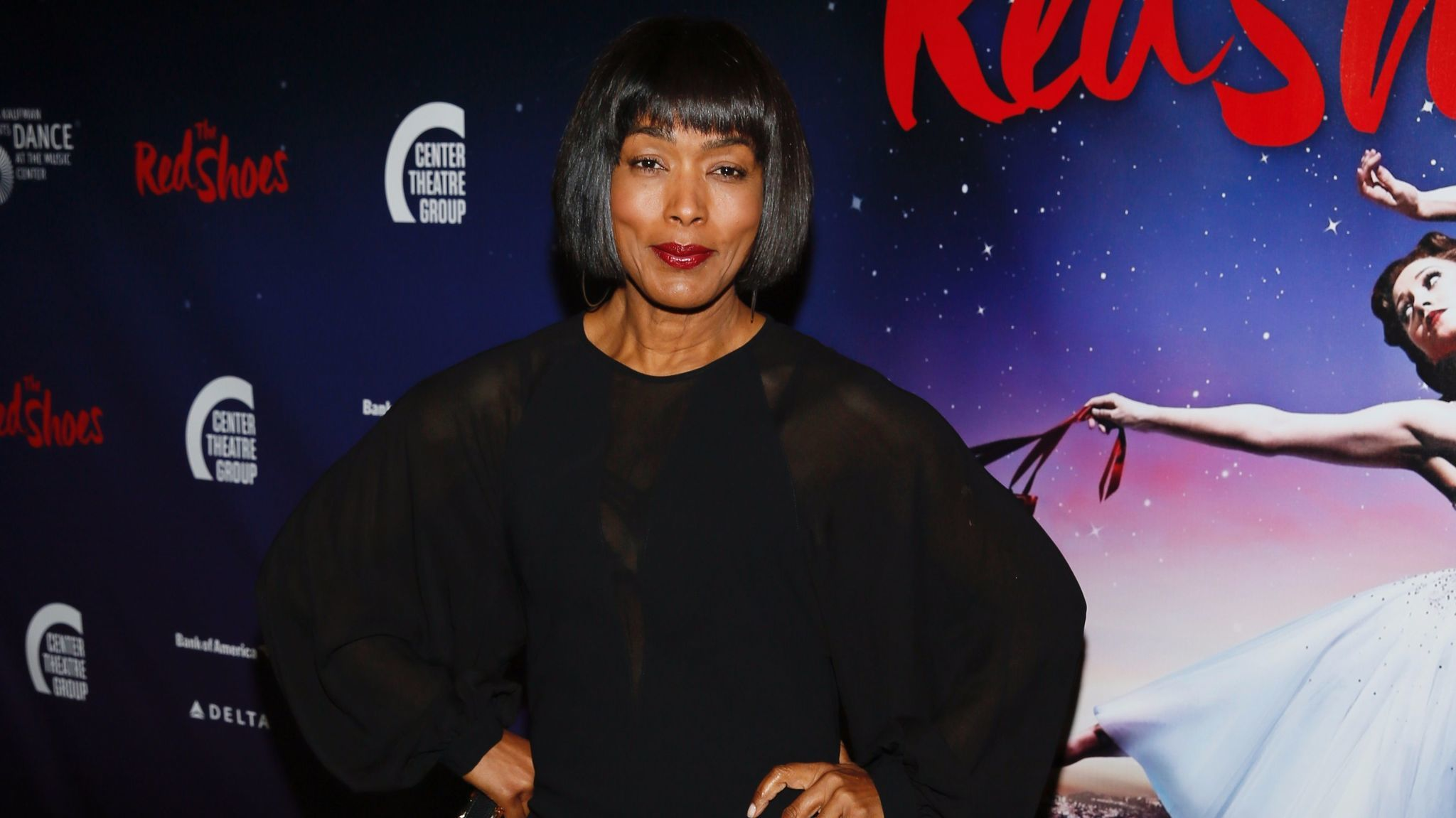 "Angela Bassett arrives for the opening night performance of ""The Red Shoes"" at the Ahmanson Theatre on Sept. 19, 2017."