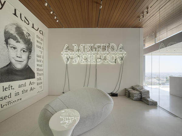 "From left, works by Robert Beck, Glenn Ligon and Robert Gober in the ""disaster room."""