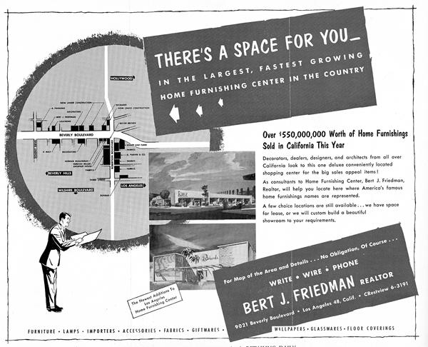 A circa-1957 leasing ad for retail spaces near Robertson and Beverly boulevards, the nascent design district.