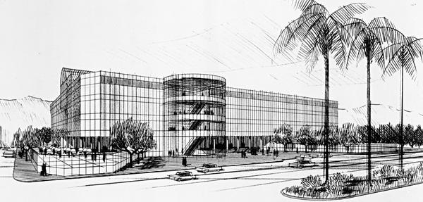 An architectural rendering of the Pacific Design Center, designed by Cesar Pelli, which opened in 1975.