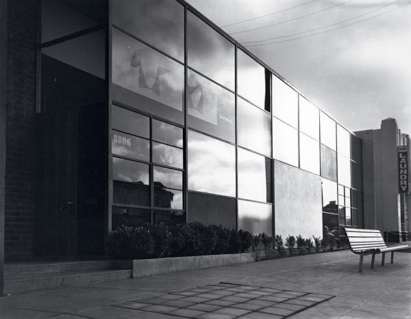 The Herman Miller showroom at 8806 Beverly Boulevard designed by Charles and Ray Eames in 1949, now home to the DDC showroom. Below right: Dorothy and Harry Lawenda,