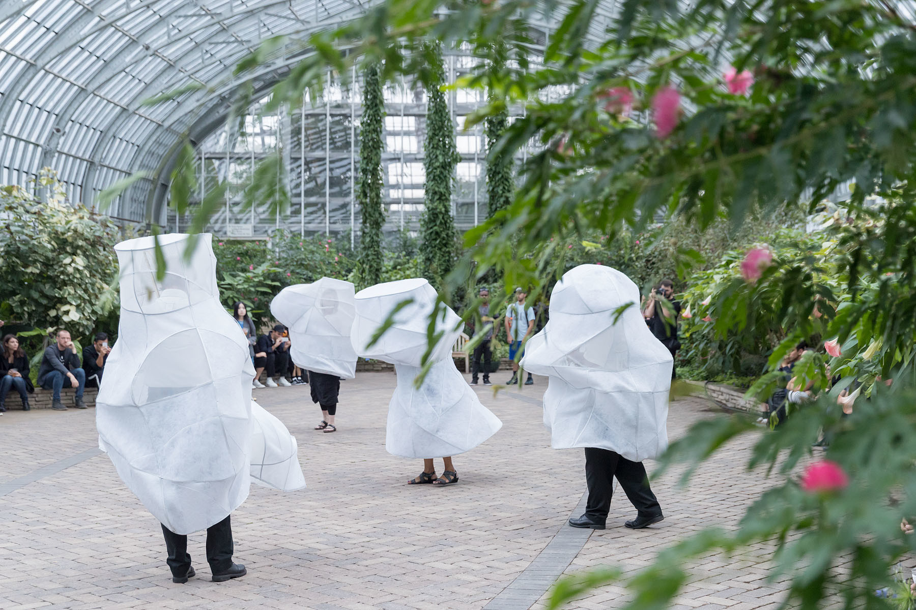 A biennial performance at the Garfield Park Conservatory was a collaboration between New York firm SO-IL and artist Ana Prvački, with music by the Los Angeles composer Veronika Krausas.