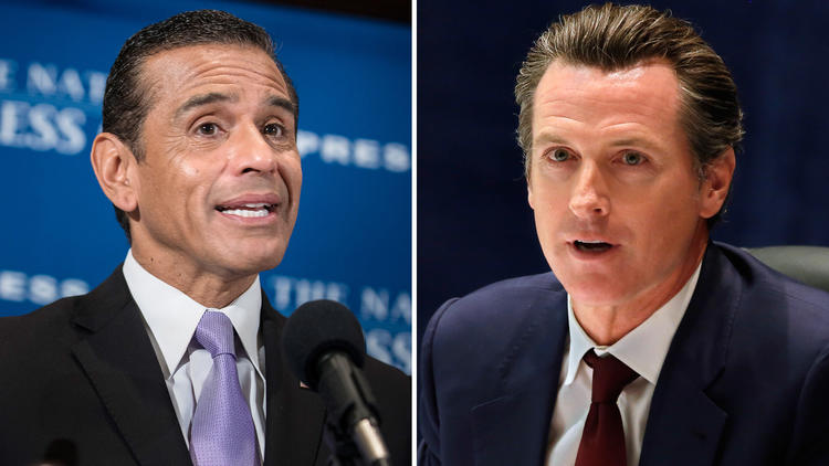 Former L.A. Mayor Antonio Villaraigosa, left, and Lt. Gov. Gavin Newsom are both California gubernatorial candidates. (Getty Images)