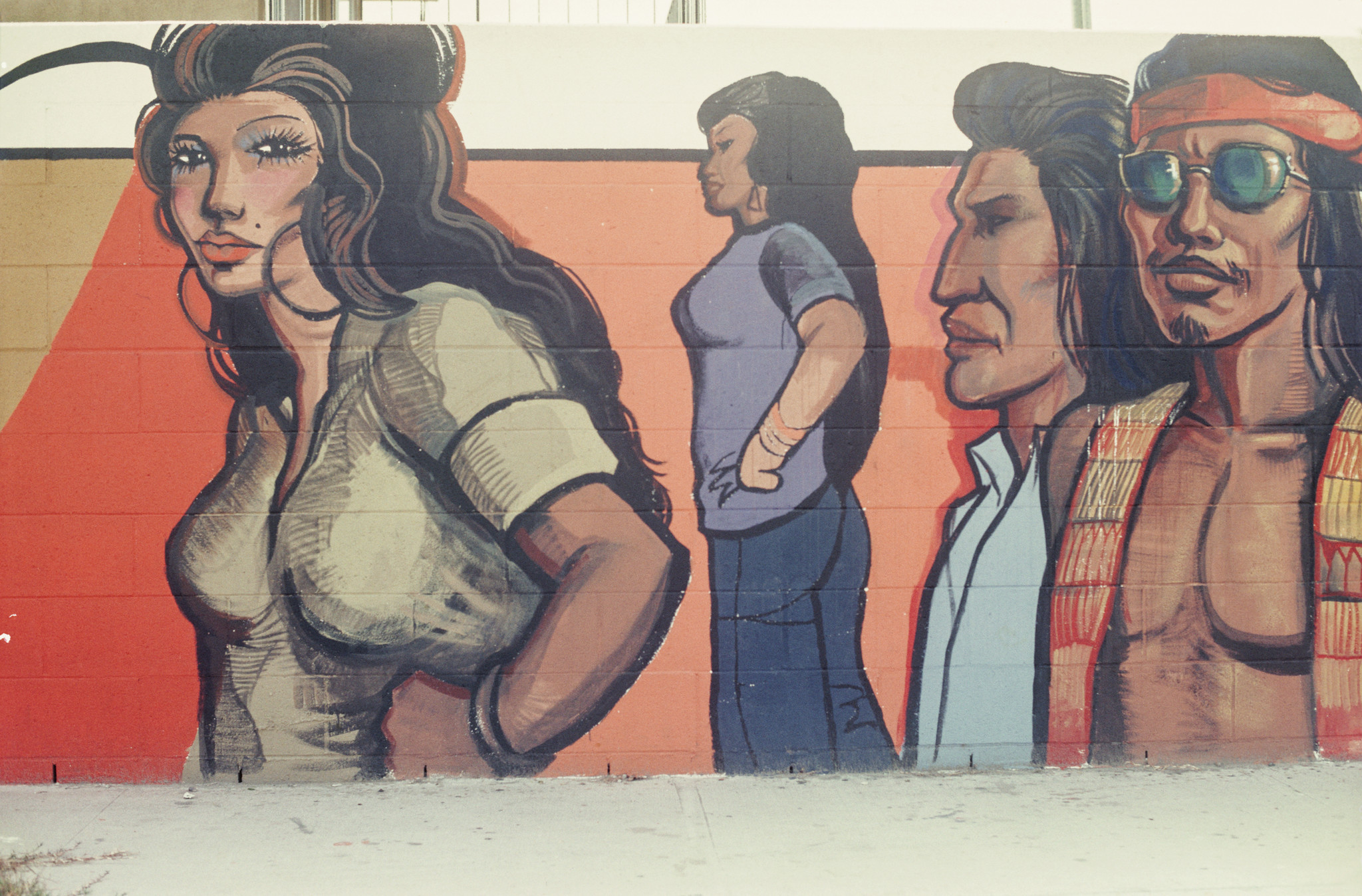 "A Fountain Valley mural by Sergio O'Cadiz Moctezuma from the mid-1970s, from the show ""¡Murales Rebeldes!"" at La Plaza."