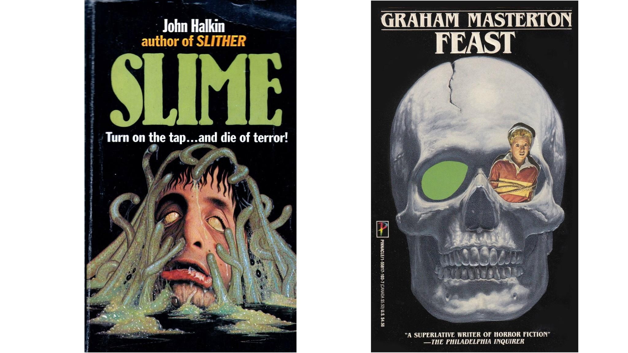 "Cover by Terry Oakes for ""Slime,"" Critic's Choice, 1984; and cover by Bob Larkin for ""Feast,"" Pinnacle, 1988. (Quirk Books)"