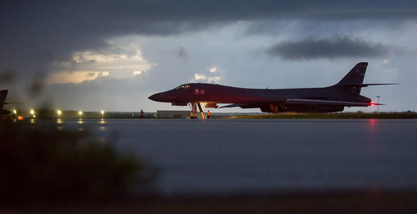 A B-1 bomber prepares to take off from Andersen Air Force Base in Guam on a mission near North Korea. (Staff Sgt. Joshua Smoot / U.S. Air Force)