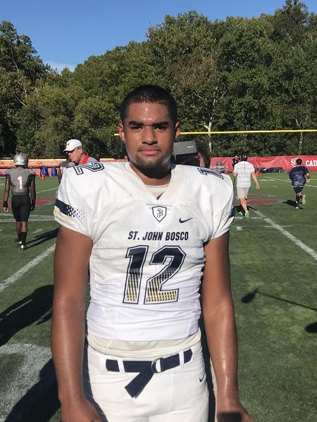 Sophomore QB D.J. Uiagalelei of St. John Bosco rallied the Braves the victory. (Burrel Lee)