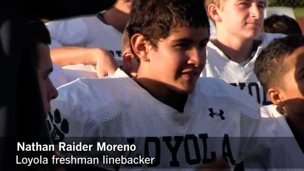 Nathan Raider Moreno, a freshman linebacker at Loyola, has parents who are big Raiders fans. (Eric Sondheimer)