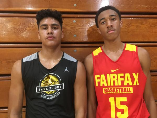 Cyrus Johnson (left) of Culver City and Daylen Williams of Fairfax are the sons of two of the City Section's greatest basketball players, former Crenshaw standouts Marques Johnson and John Williams. (Eric Sondheimer)
