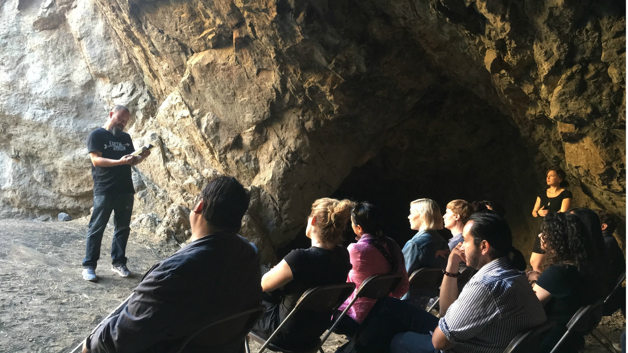 "Chiwan Choi reads from ""The Yellow House"" at the mouth of Bronson Caves."