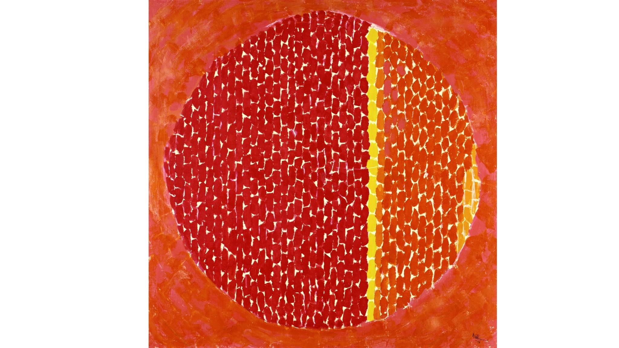 Snoopy Sees Earth Wrapped In Sunset, 1970, Alma Thomas, acrylic on canvas, 121.6 × 121.6 cm / 48 × 4