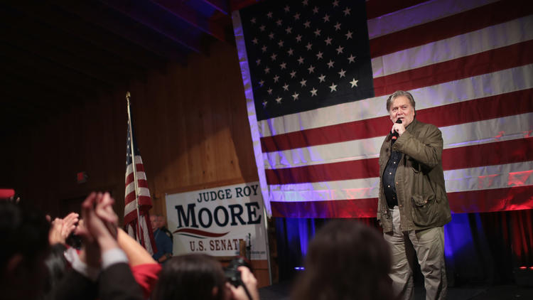 Steve Bannon speaks at a campaign event for Roy Moore, the Republican candidate for U.S. Senate in Alabama. (Scott Olson/Getty Images) None