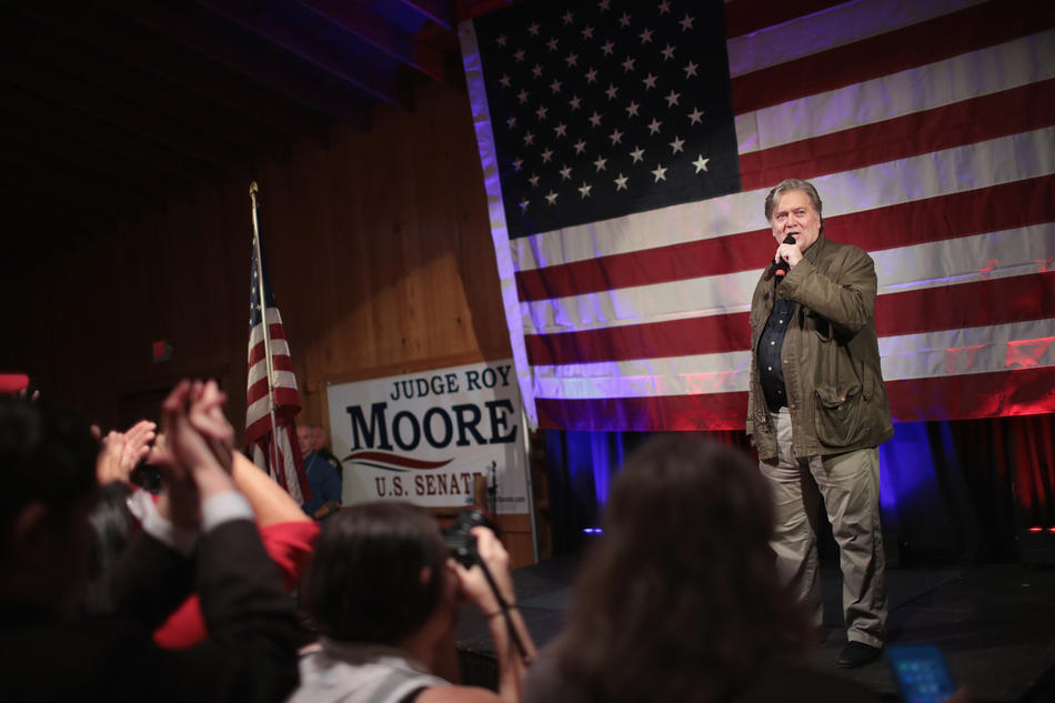 Stephen K. Bannon, a former White House advisor and now editor at Breitbart News, speaks at a campaign event for Republican Senate candidate Roy Moore in Alabama. — Scott Olson/Getty Images.