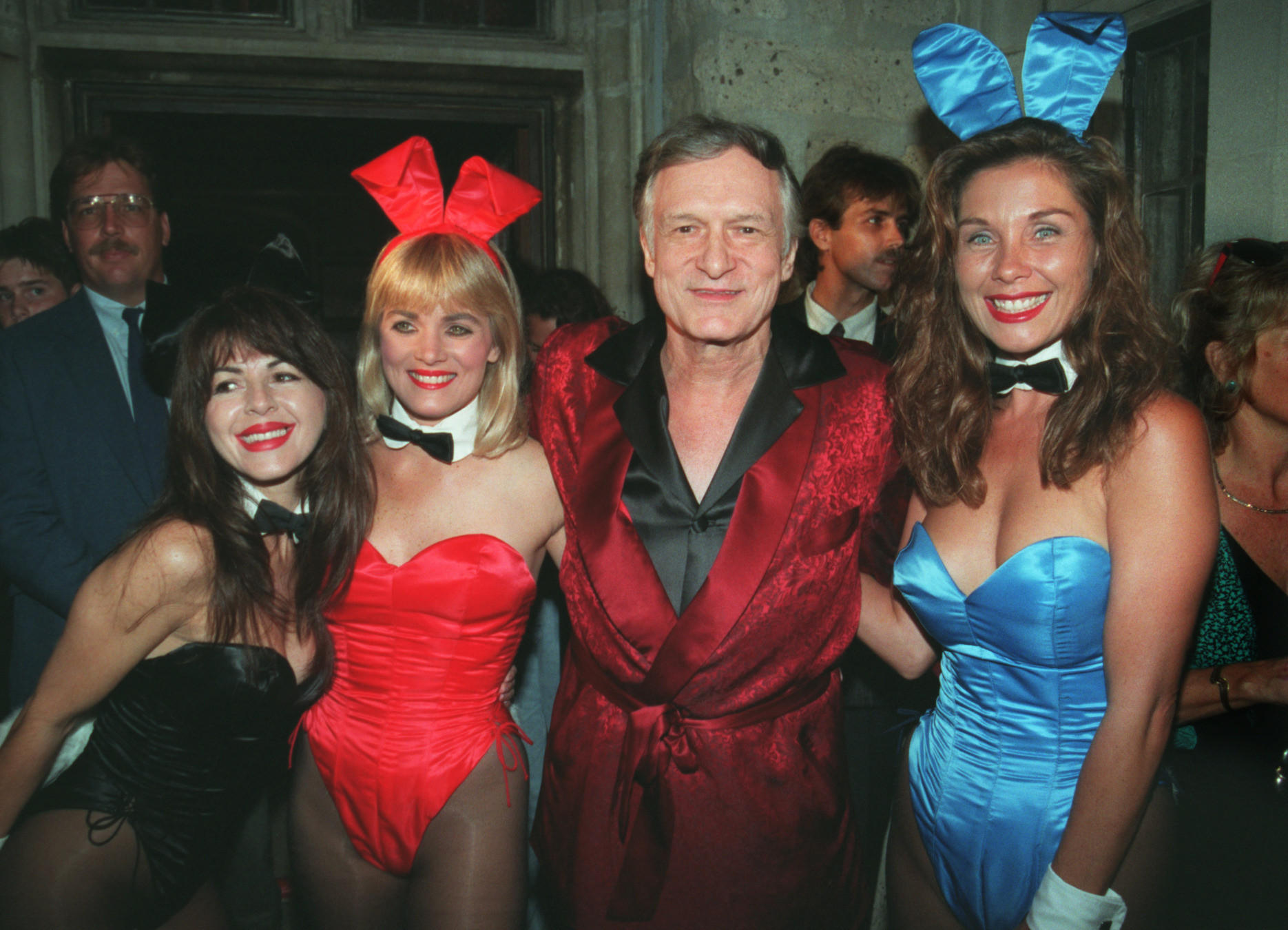 Hugh Hefner and a bevy of playmates. (Carol Cheetham / Los Angeles Times)