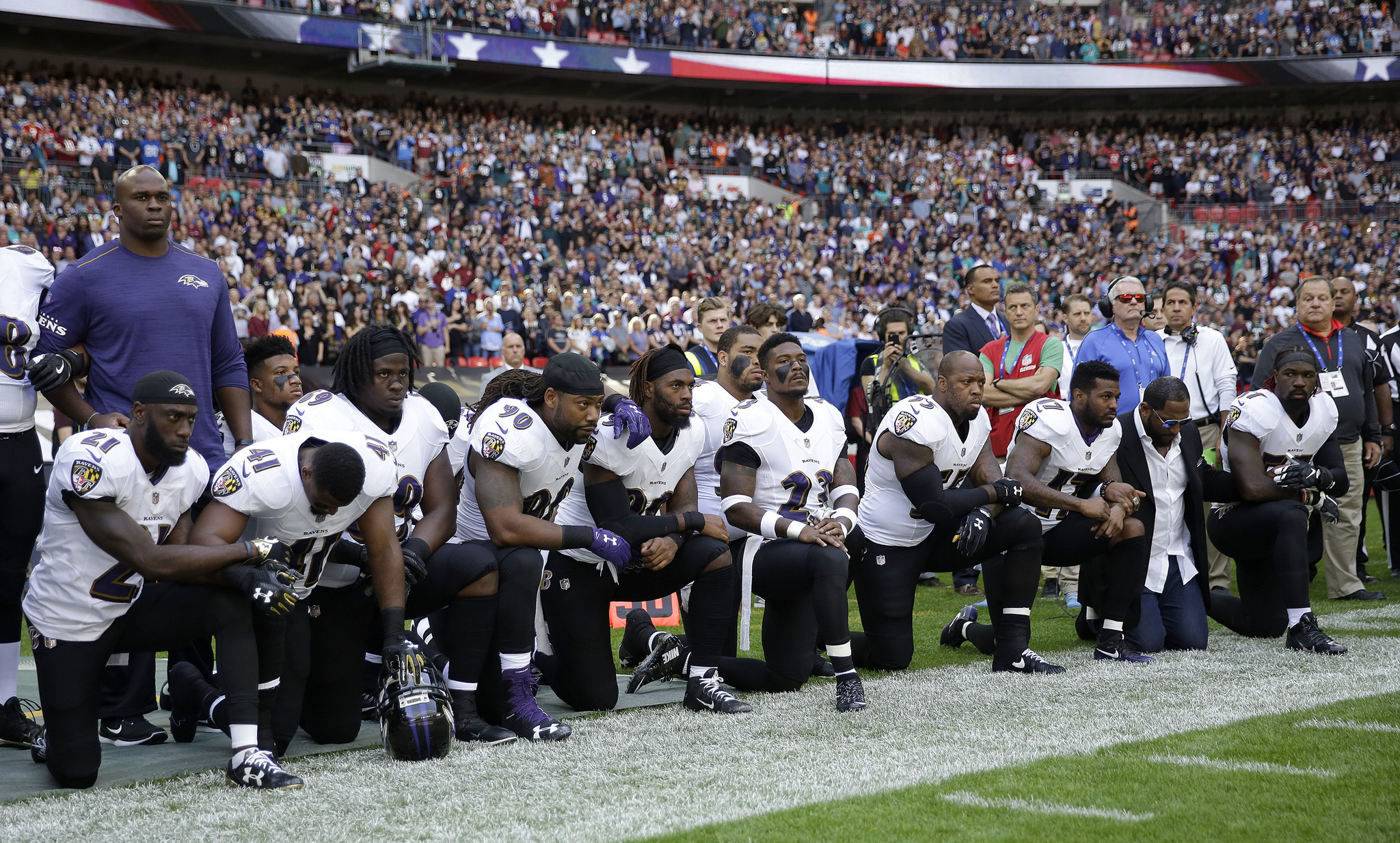 Image result for Entire Ravens Team Just Took a Knee During Anthem – Never Expected What FURIOUS Fans Immediately Did
