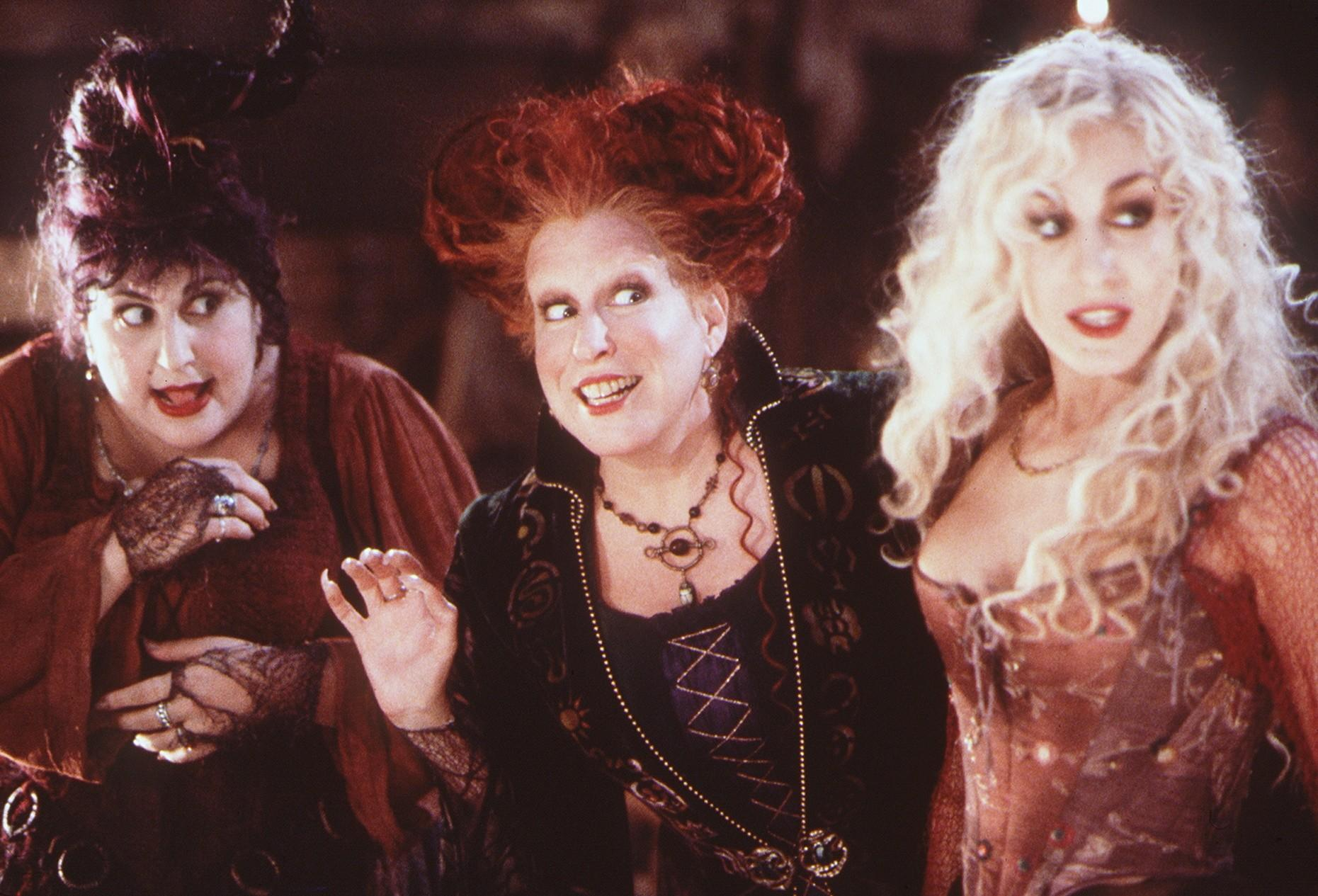 "Kathy Najimy, left, Bette Midler and Sarah Jessica Parker appear in a scene from 1993's ""Hocus Pocus."" (Disney)"