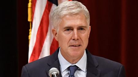 Supreme Court Justice Neil Gorsuch speaks at the University of Louisville on Sept. 21. (Timothy D. Easley / Associated Press)