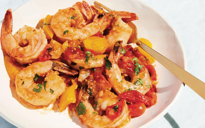 Sweet and sour shrimp with cherry tomatoes