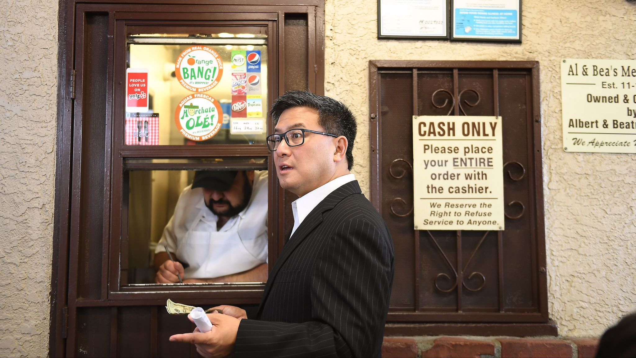 Gubernatorial candidate John Chiang orders lunch at Al & Bea's Mexican Food in Boyle Heights in June.