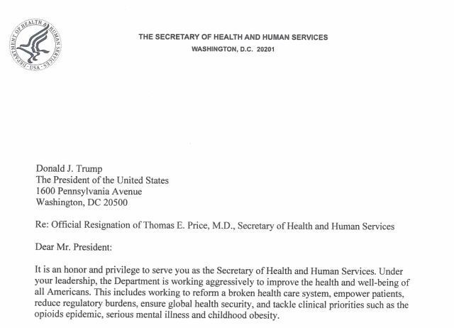 Read Health and Human Services Secretary Tom Price's resignation letter None