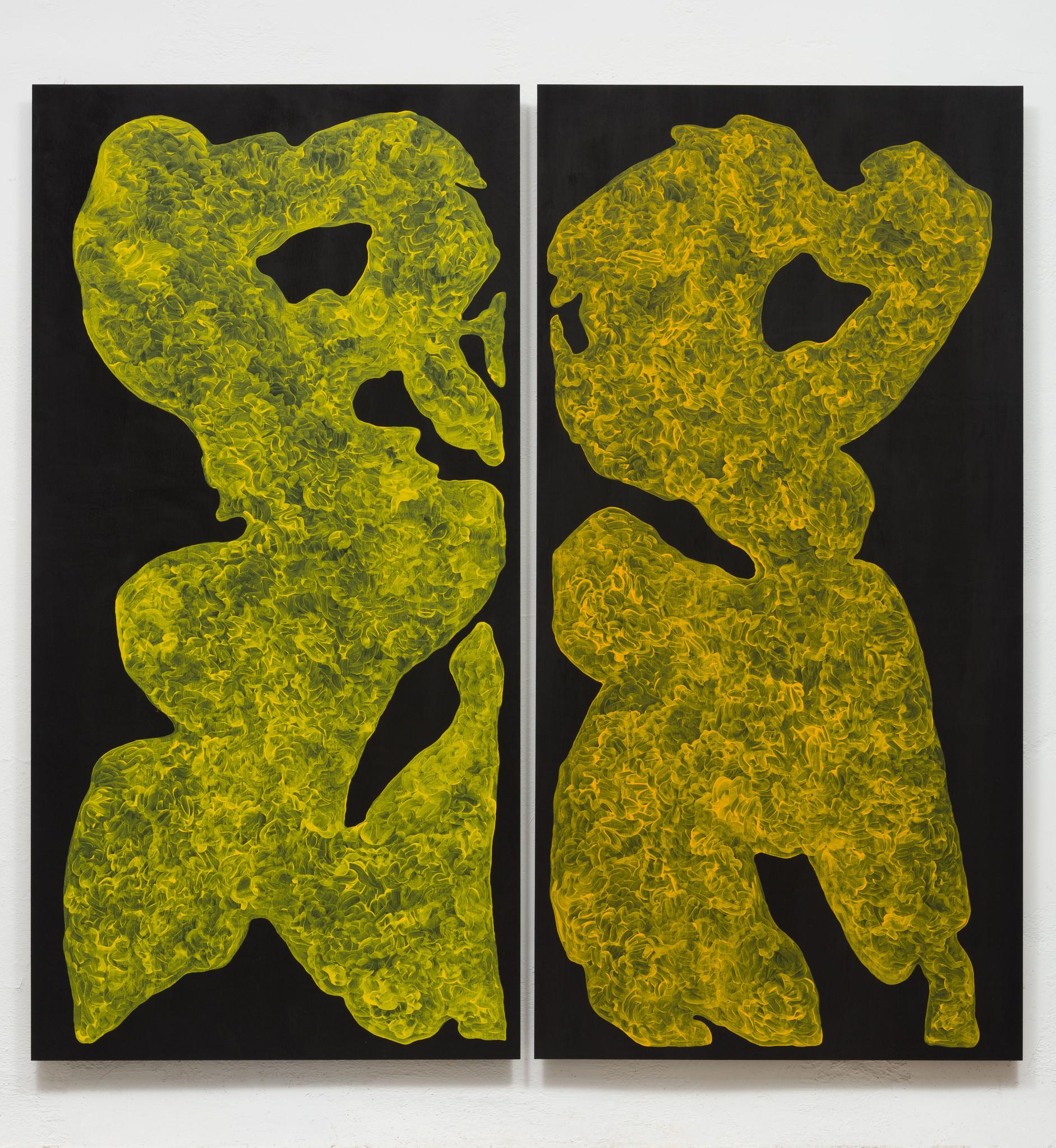 "Monique Prieto, ""Yellow Set,"" 2017, acrylic on panel, 72 x 72-12 inches."