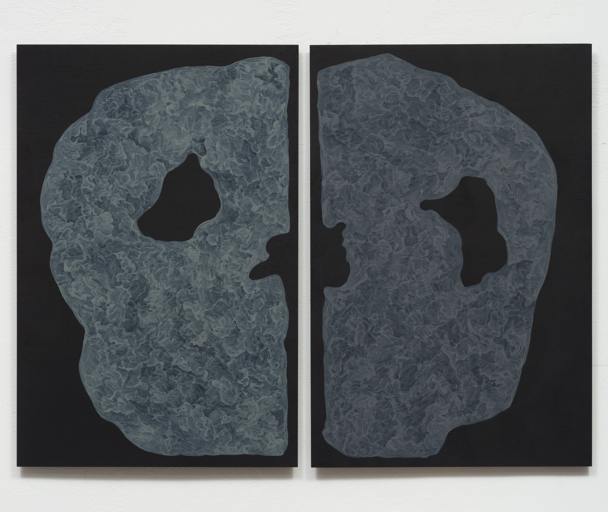 "Monique Prieto, ""Grey Set,"" 2017, acrylic on panel, 36 x 48-1/2 inches."
