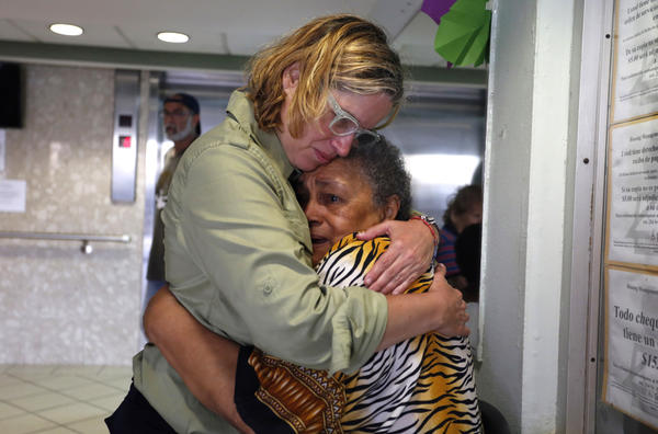 San Juan Mayor Carmen Yulin Cruz, left, visits a home for seniors last weekend. (Thais Llorca / EPA-EFE/REX/Shutterstock)
