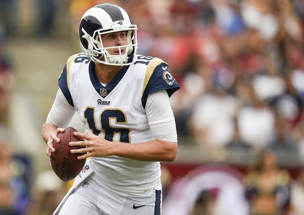 Rams quarterback Jared Goff looks to pass during a game against the Redskins at the Coliseum on Sept. 17. (Kelvin Kuo / Associated Press)